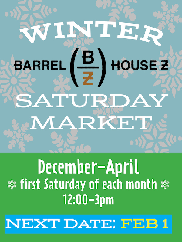 Next Barrel House Z Winter Market is on 2/1 from 12-3pm. Great local crafts, foods and tarot card reading. #shoplocal #drinklocal