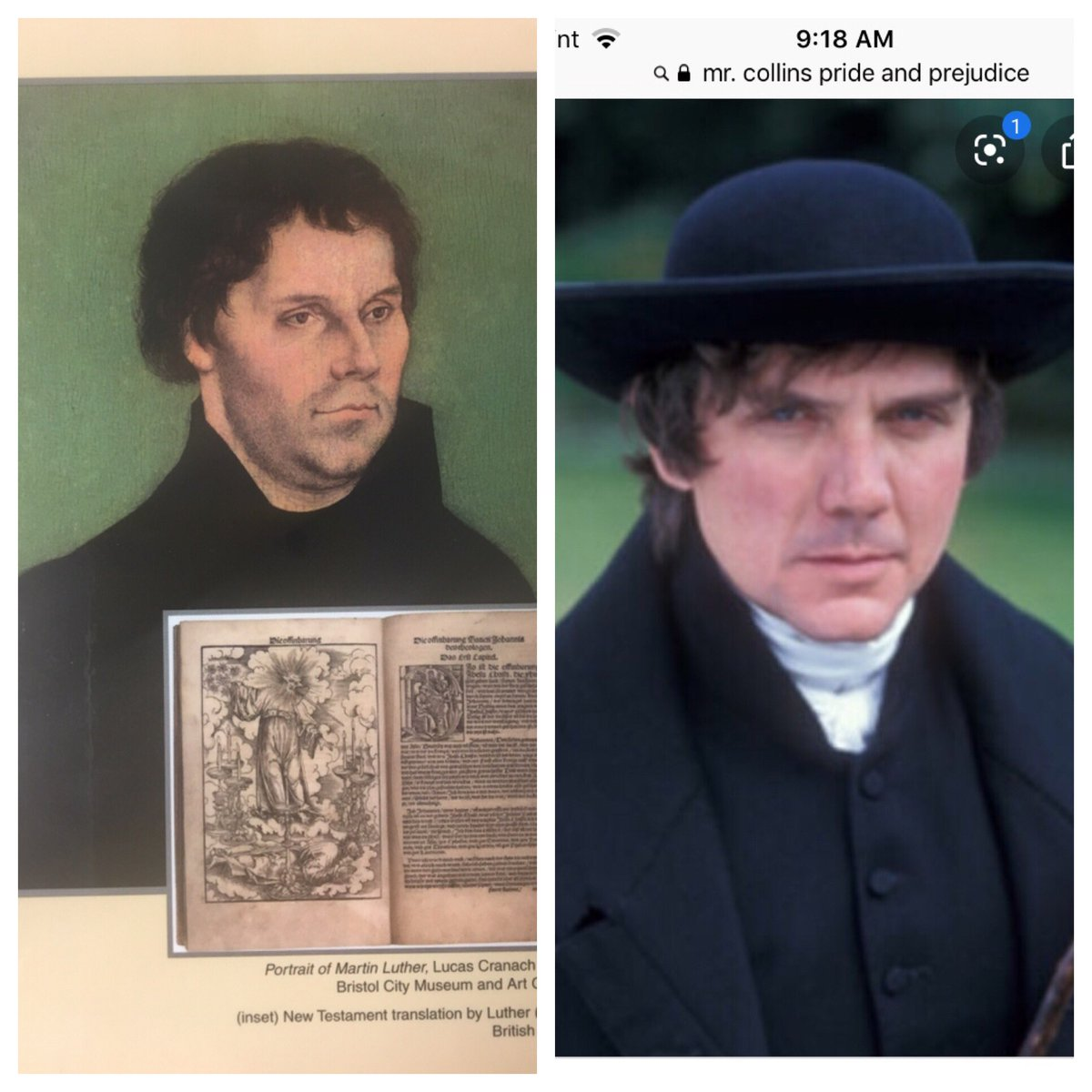 When I look at this picture of Martin Luther, I can't help but think of Mr. Collins. #homeschooling #PrideandPrejudice #JaneAustenpic.twitter.com/Iy44sdJBo1
