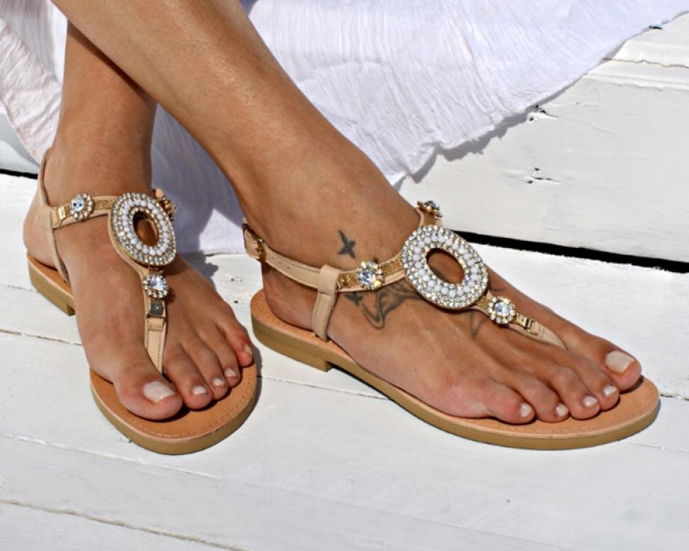 #food #tflers Women Leather Beaded Flat Sandals