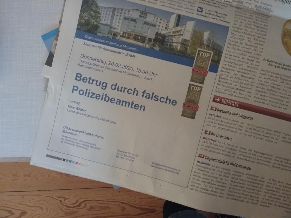 TOP 2019 und TOP 2020 - besser werden Sie nirgendwo durch falsche Polizeibeamte betrogen! Da bin ich doch gleich wieder stolz, in #Mannheim zu wohnen... pic.twitter.com/QoYpf1FIi5