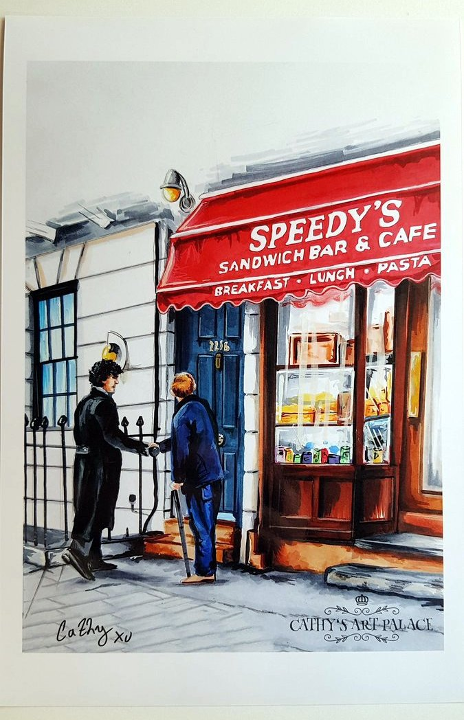 """Only 3 print are left!  I'm selling signed prints of my handpainted """"The Game Is On!"""" #Sherlock artwork (as seen at the real Speedy's Cafe in London) Each print comes with a nice 221B Key necklace (faux gold or silver) #BenedictCumberbatch Etsy Linkhttps://www.etsy.com/de/listing/727241143/sherlock-signed-print-the-game-is-on?ref=shop_home_active_4…pic.twitter.com/ifKsUFjCTe"""