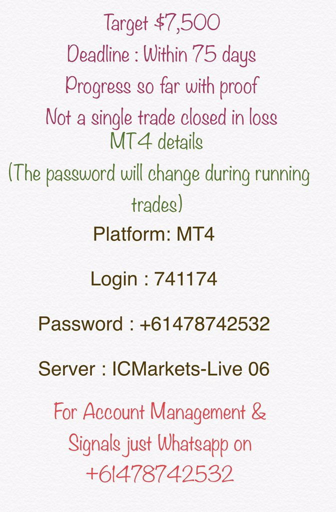 Target $7,500  Deadline : Within 75 days   Not a single trade closed in loss  with mt4 proof,  Hve a look  For account management & signals    Whatsapp +61478742532  #forex #ForexTrader #forextrading #ForexSignal #EURUSD #trading #TradingSignals #forex_trader #الفوركس   #traderpic.twitter.com/y6rruphrpV