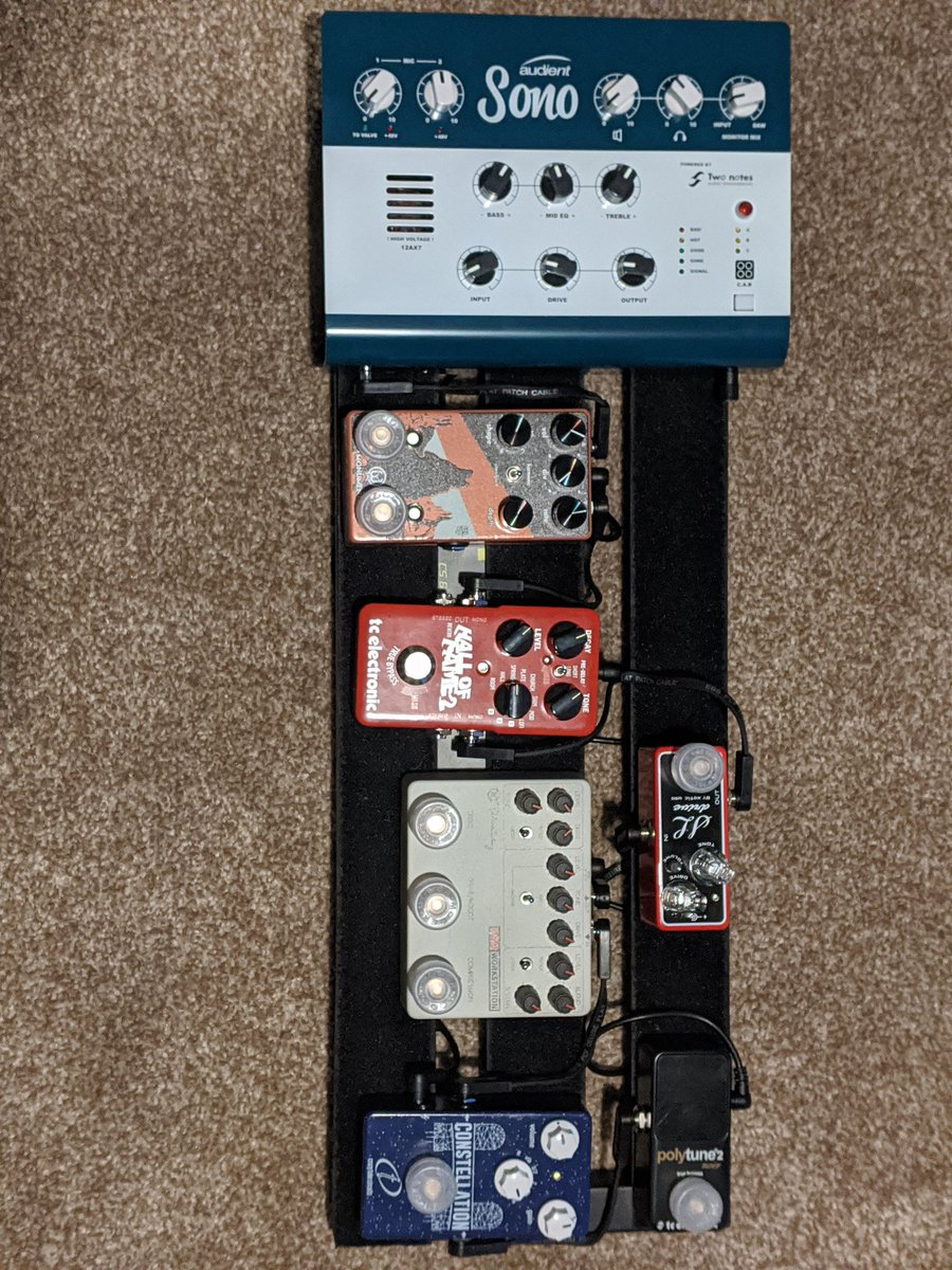 Finished my pedalboard... for now! Love the tones I can get from the @AudientWorld Sono, great for recording or just jamming. #andertonsmademedoit https://t.co/KaGiTAofZW