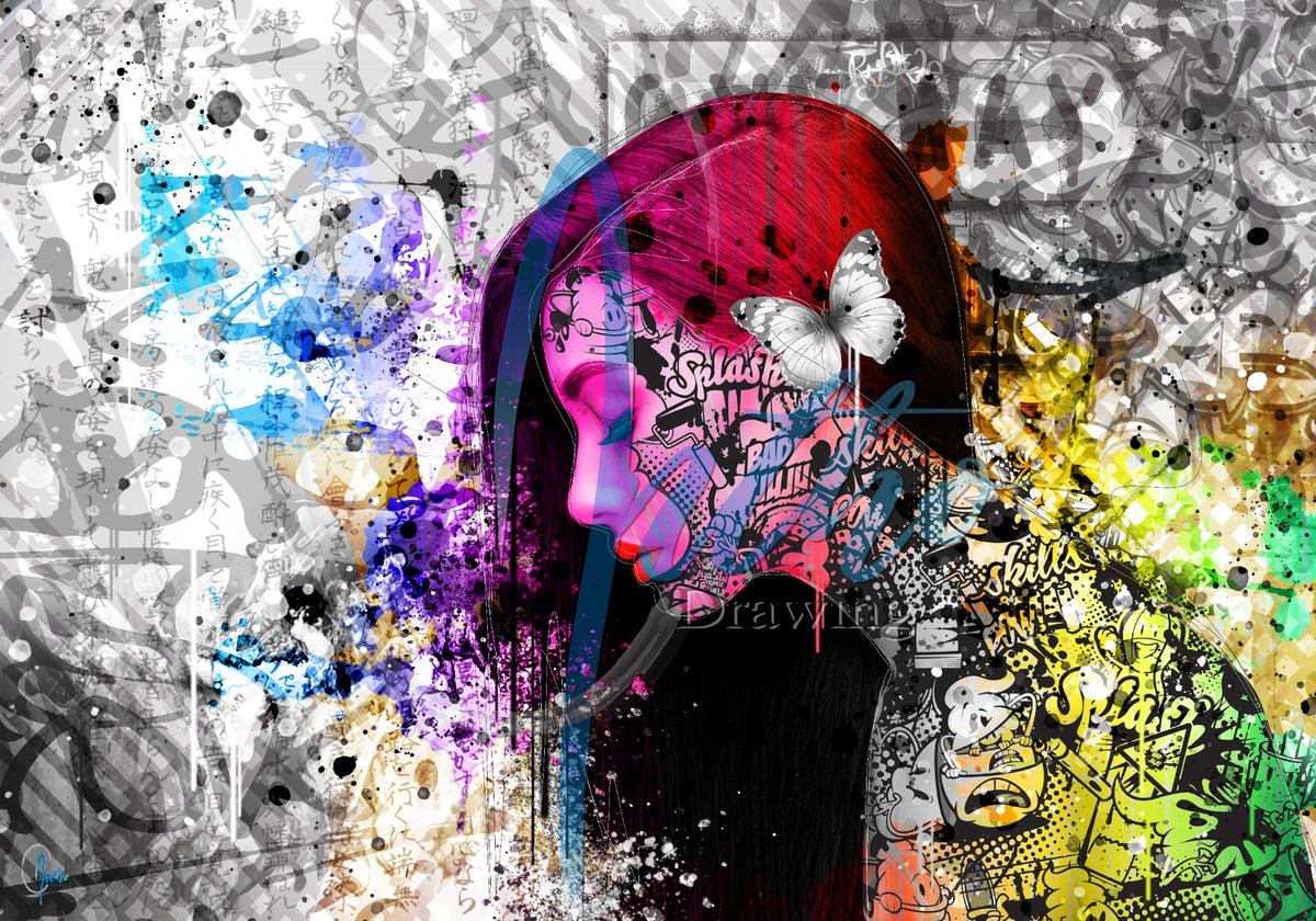 "New!! ""Fear"" streetart #fear #emotions #emotion #model #woman #think #feelings #feel #girl #courage #hair #cry #butterfly #heart #pop #art #popart #luxe #print #color #deco #decor #digitalart #digital #graphicdesign #graffiti #sell #photoshop #streetart #tags"
