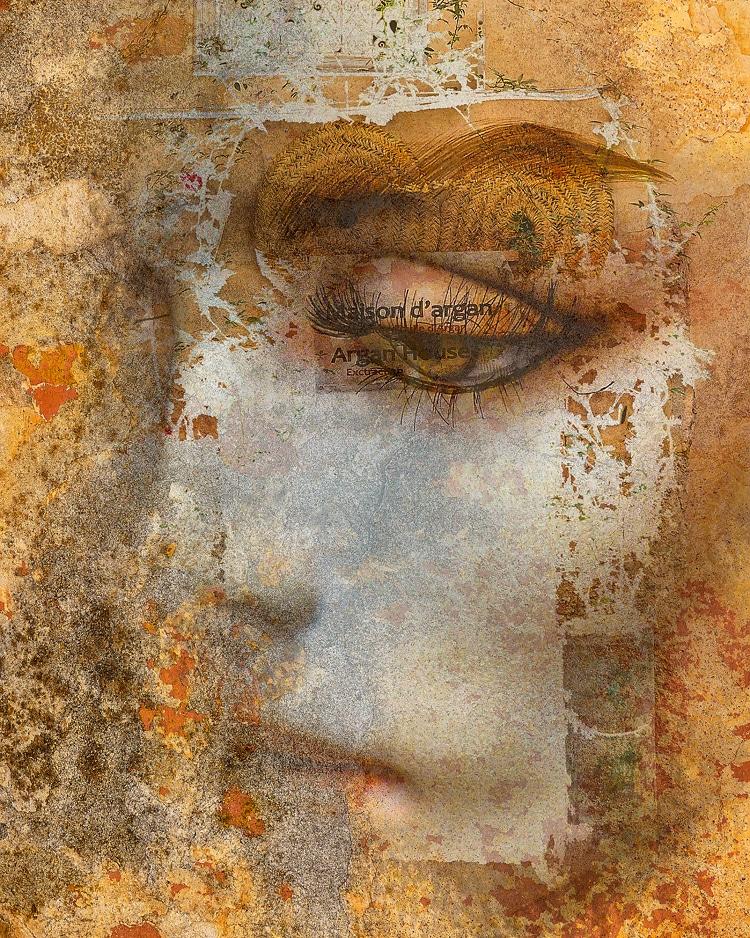 More at  #contemporyart #collage #fineart #digitalart #modernart #abstract #abstractart #mixedmedia #woman #face #gabihampe #artwork #golden #colors
