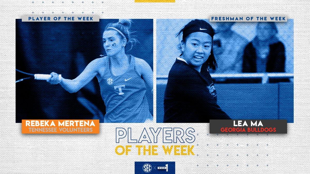 Women's tennis SEC weekly honors go to @Vol_WTennis Rebeka Mertena (Player) & @UGAWomensTennis Lea Ma (Freshman).
