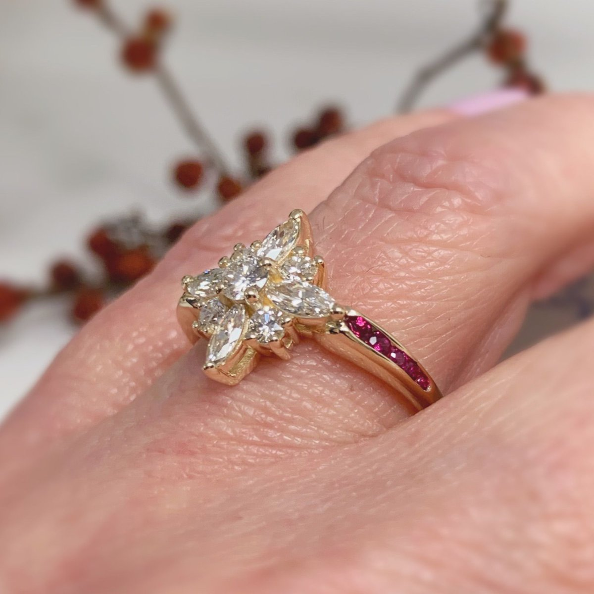 Unique starburst ring with rubies set in a yellow gold band! This custom engagement ring is simply breathtaking.  #diamondring #diamondrings #engagementring #diamond #diamonds #ringforher #weddingjewelry #customjewelry #customengagementring #rubiesanddiamonds #luxuryringpic.twitter.com/20xFS3Vz66