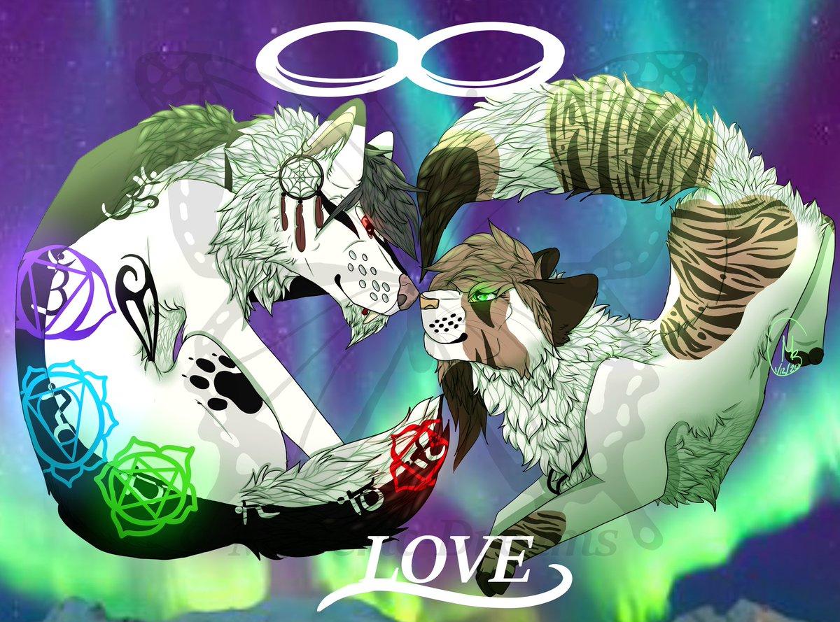 Ship art for me and my bf @DHWHeavenWolf <33 #love #infinity #cat #wolf #canine #feline #nothernlights #stars #Lover #digitalart #digital #digitalartwork #feral #ship #shipping #relationships #RelationshipGoals #relationship #lovers