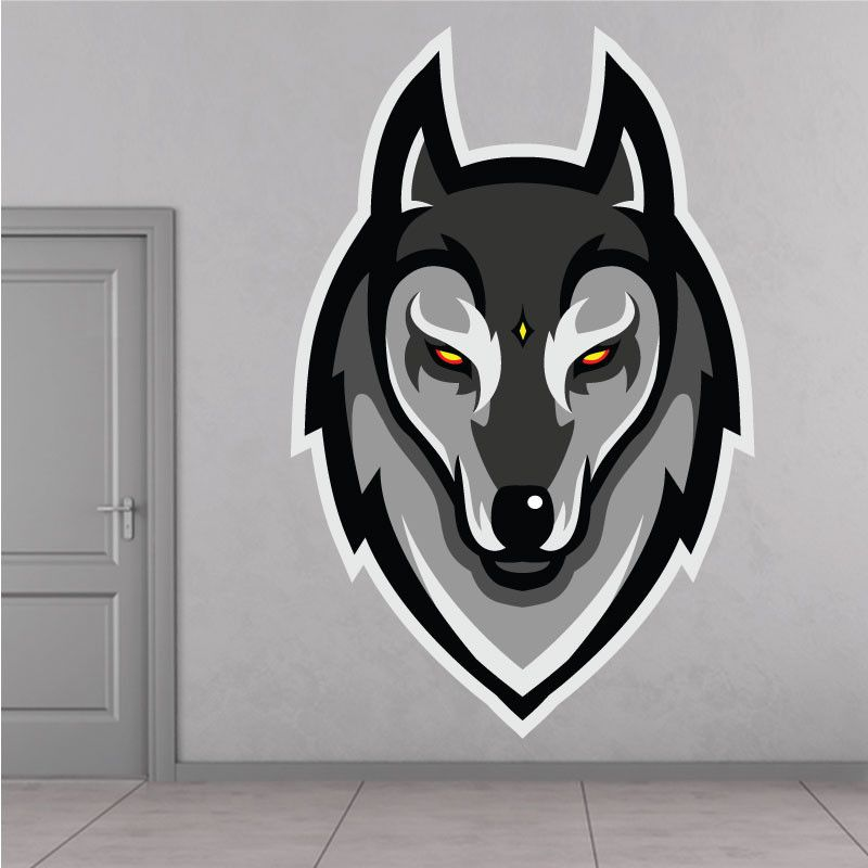 Loup Gris Autocollant Mural  #ZoneStickers #Autocollant #Sticker #adhesif #Autocollants #Stickers #adhesifs #WallArt #autocollantmural #Deco #decoration #French #France #cool #Fun #top #loup #wolf #loupgris
