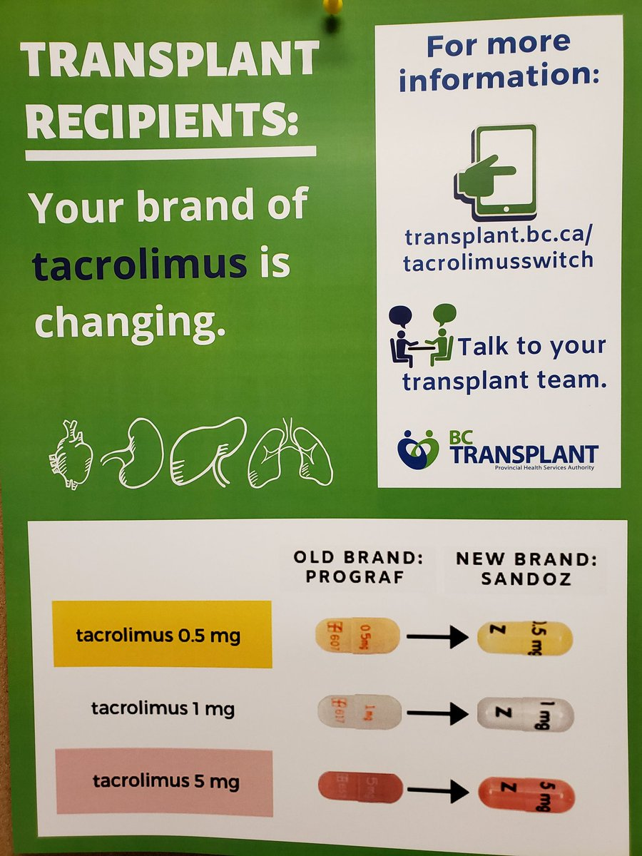 Attention Transplant Recipients - your brand of Tacrolimus is changing. #cardiotwitter @BC_Transplant