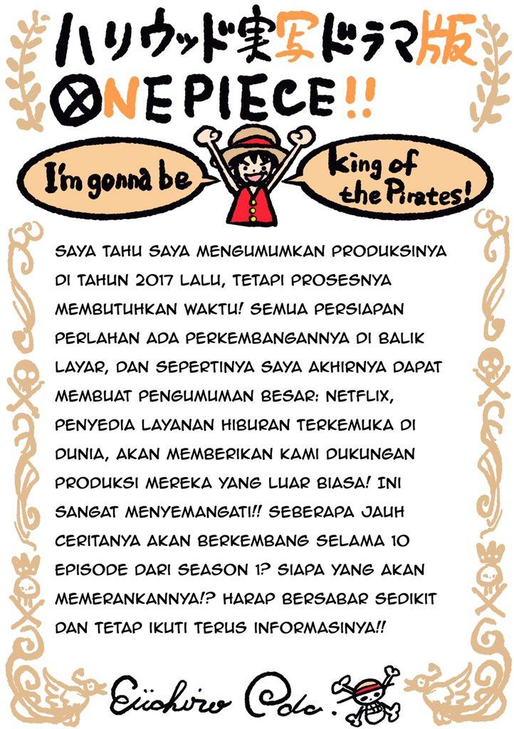 Surat Eiichiro Oda untuk penggemar One Piece.