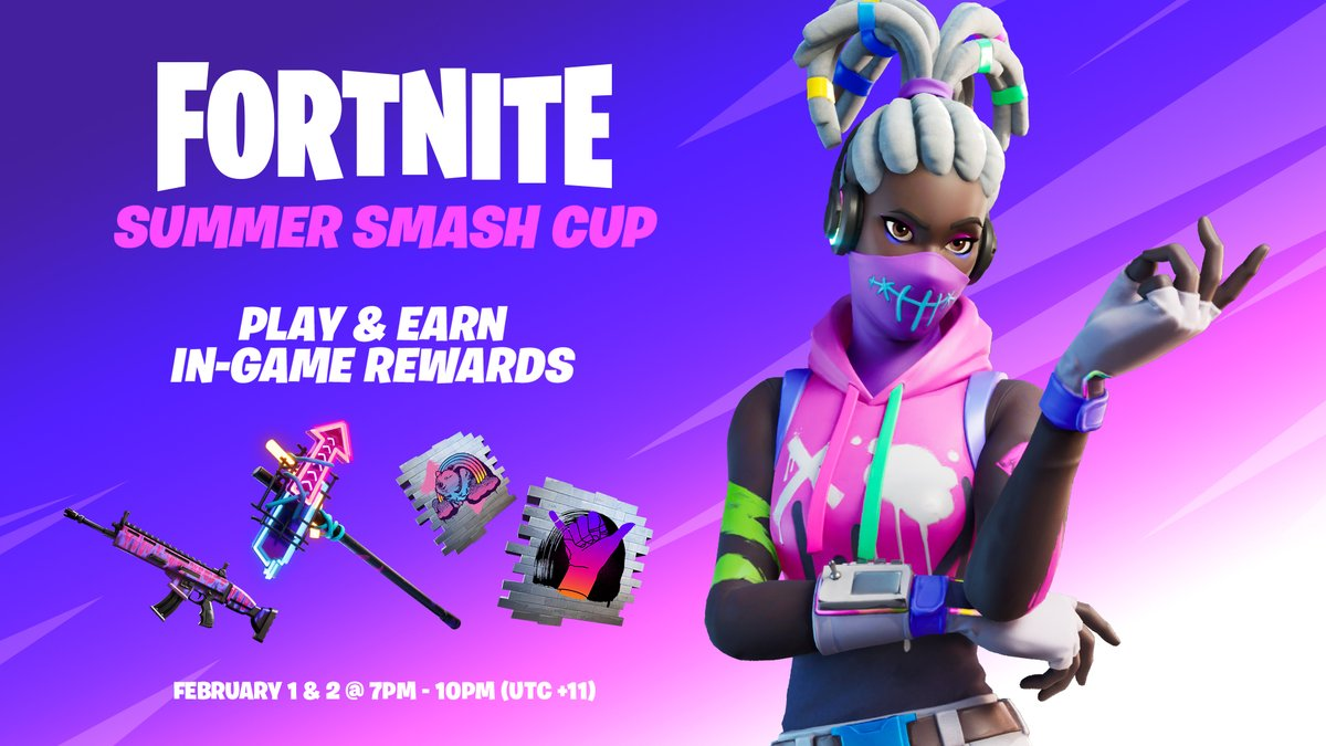 Fortnite On Twitter To Celebrate The 2nd Year Of The Ao Summer Smash Featuring Fortnite We Re Having An In Game Tournament Jump Into The Cup On Feb 1 2 From 7 10pm Aedt In Oce Asia Battle royale, creative, and save the world. ao summer smash featuring fortnite