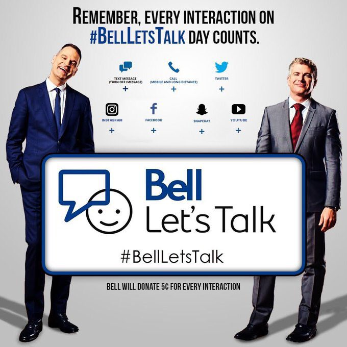 Let's keep the #BellLetsTalk tweets coming, bahds! For every retweet and tweet using the hashtag #BellLetsTalk, Bell will donate five cents to mental health initiatives. #JayAndDan