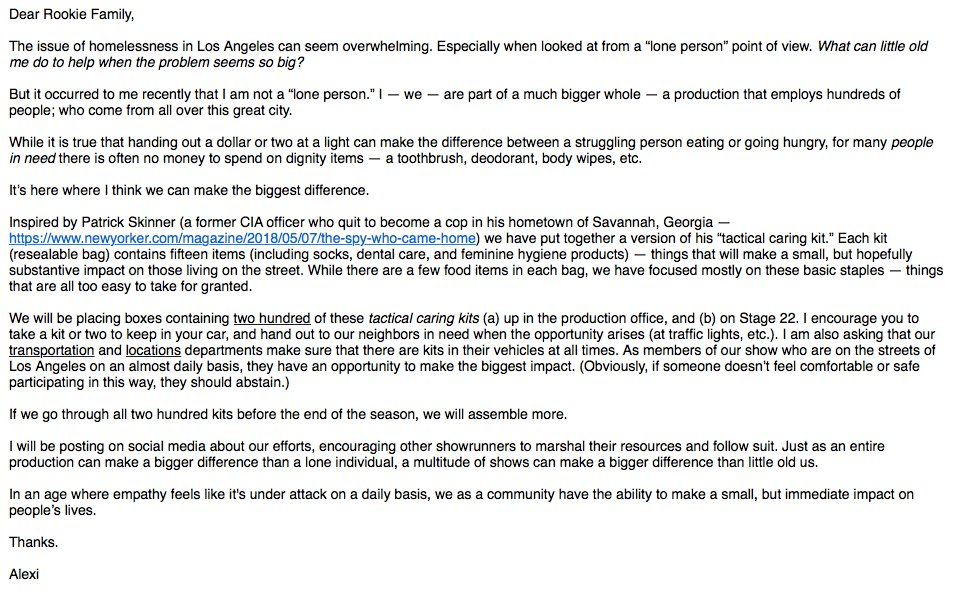 SHOWRUNNERS (and other fine people). Today I sent the attached email to the cast and crew of The Rookie.