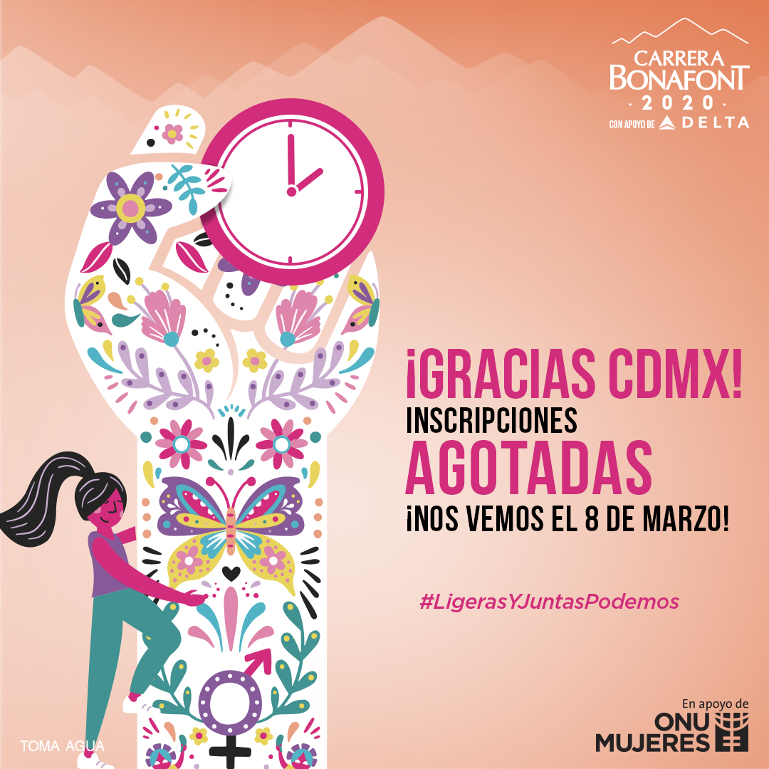 ¡CDMX, gracias por tu participación! Nos vemos el 8 de marzo en la #CarreraBonafont2020 para correr por un México libre de violencia contra las mujeres. #LigerasYJuntasPodemos