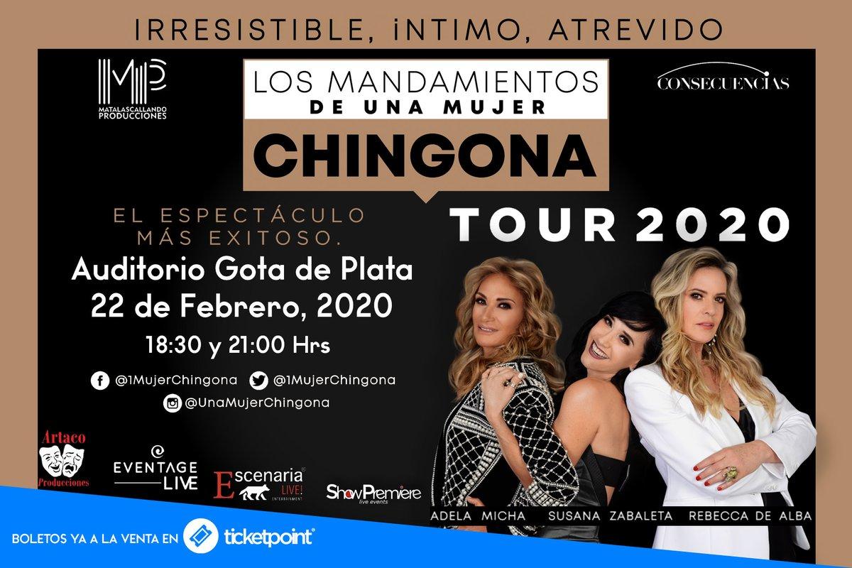 """¿Se perderán a @SusanaZabaleta , @Adela_Micha y a @rebecadealba en """"Los mandamientos de una mujer chingona""""? 📅 21 de febrero 18:30 y 21:00 hrs  #Auditorio @GotaDePlata_  #Pachuca  🎟Boletos en ⬇️ https://t.co/J42mrCLHF3 ¡Apresurate porque se agotan! https://t.co/qkzfgcBoYn"""