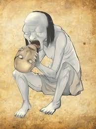 demon eating a head
