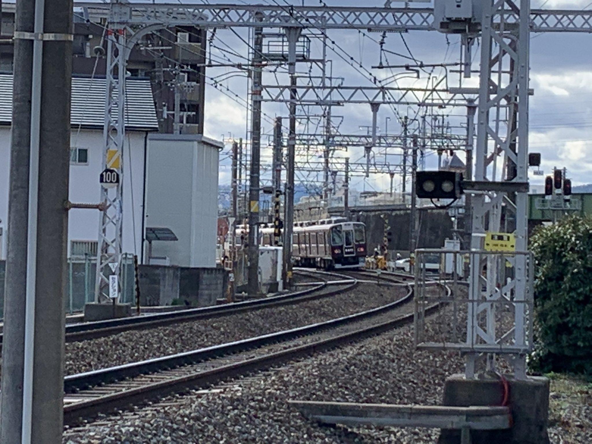 阪急京都線の西京極駅~桂駅間で人身事故が起きた現場の画像