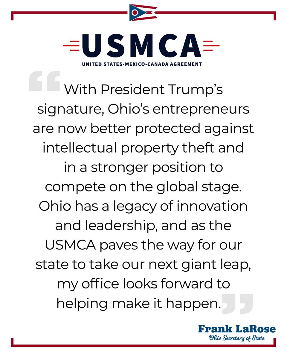 Great news. A big, bipartisan win for Ohio and the entire nation!  #USMCAnow