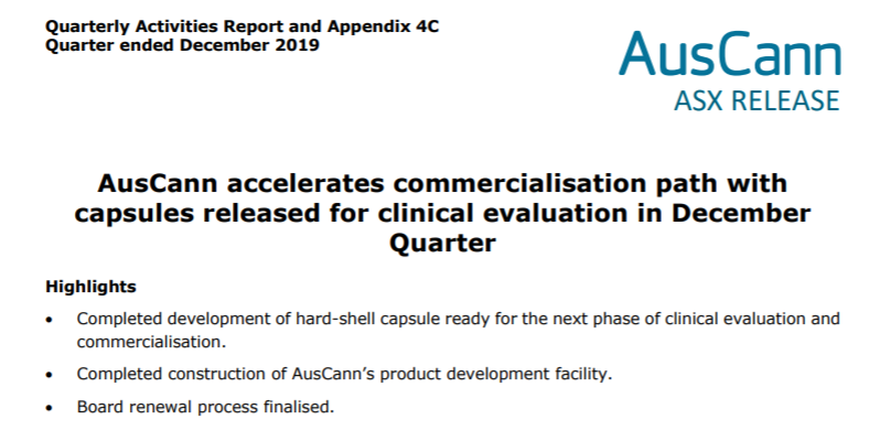 AusCann accelerates commercialisation path with capsules released for clinical evaluation during December Quarter. You can view our Quarterly Activities Report here: https://t.co/yMFtYeqTJS