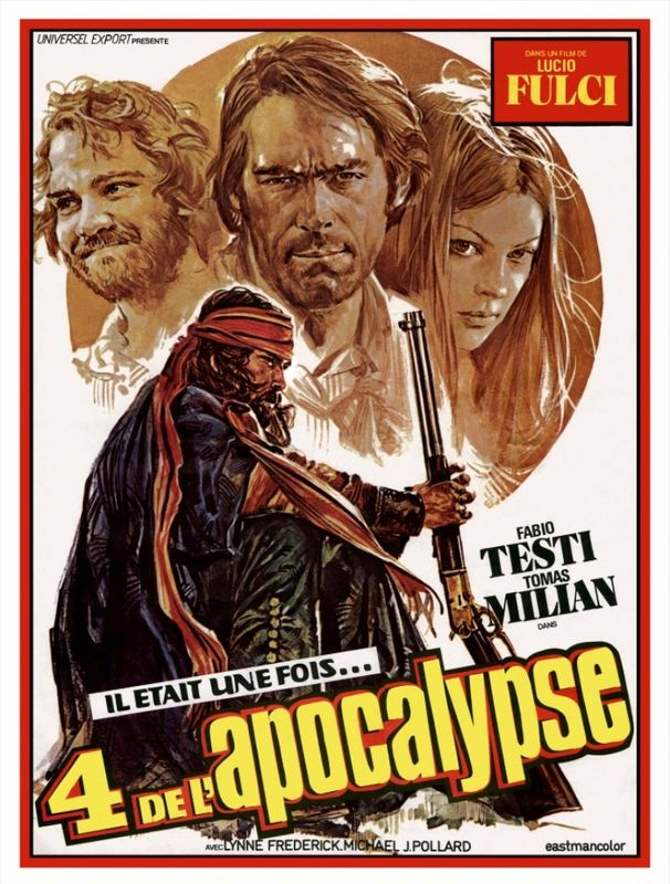 """#WesternWednesday: The Four of the Apocalypse (1975) by #LucioFulci w/ #FabioTesti #LynneFrederick #MichaelJPollard #HarryBaird #TomasMilian & more! """"Four petty criminals wander through the Wild West Utah and are hounded by a sadistic bandit."""" #Western #SpaghettiWesternpic.twitter.com/a70WGyIGYp"""