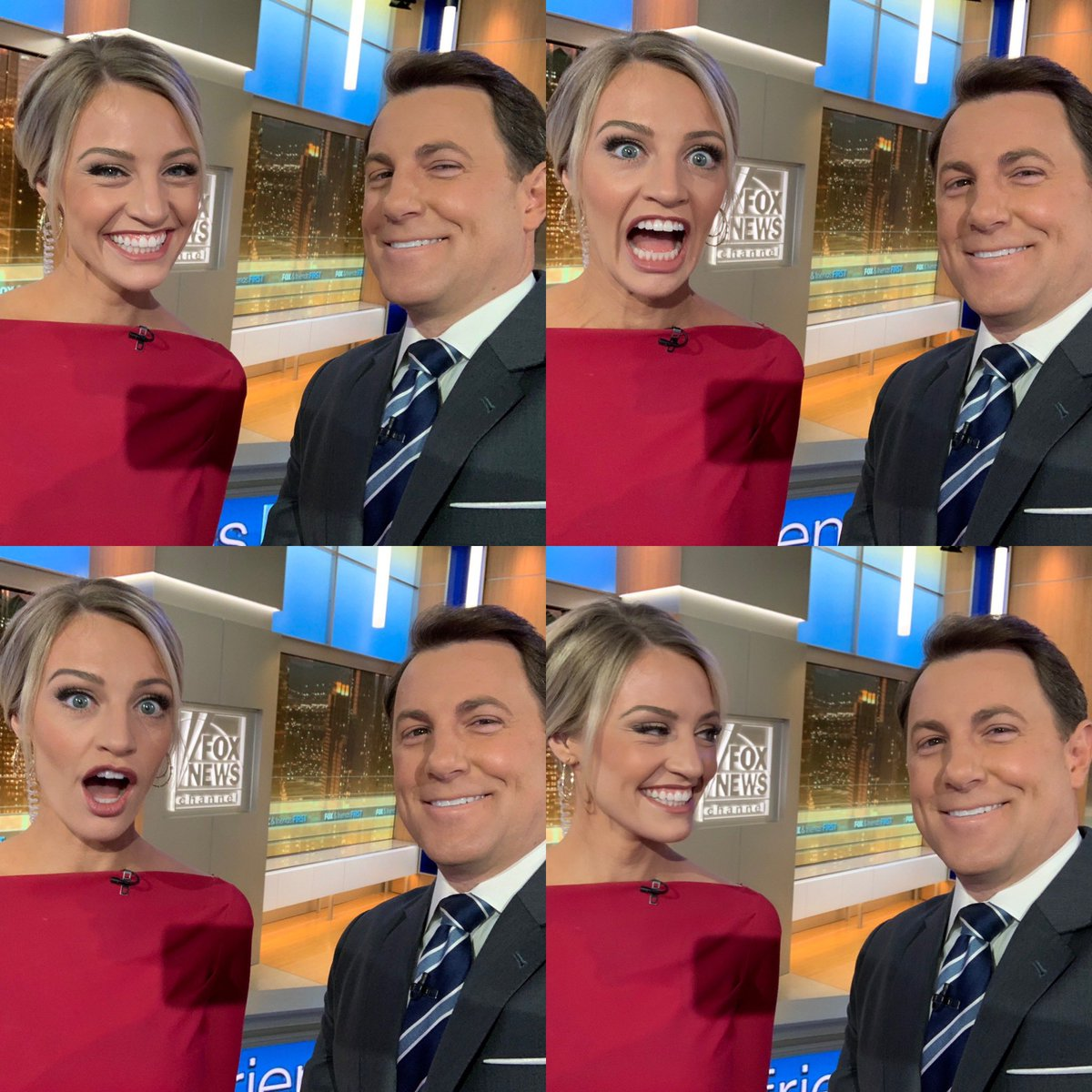 The many faces of @foxfriendsfirst this morning. Get ready for a complex and multi-faceted hour. @carleyshimkus