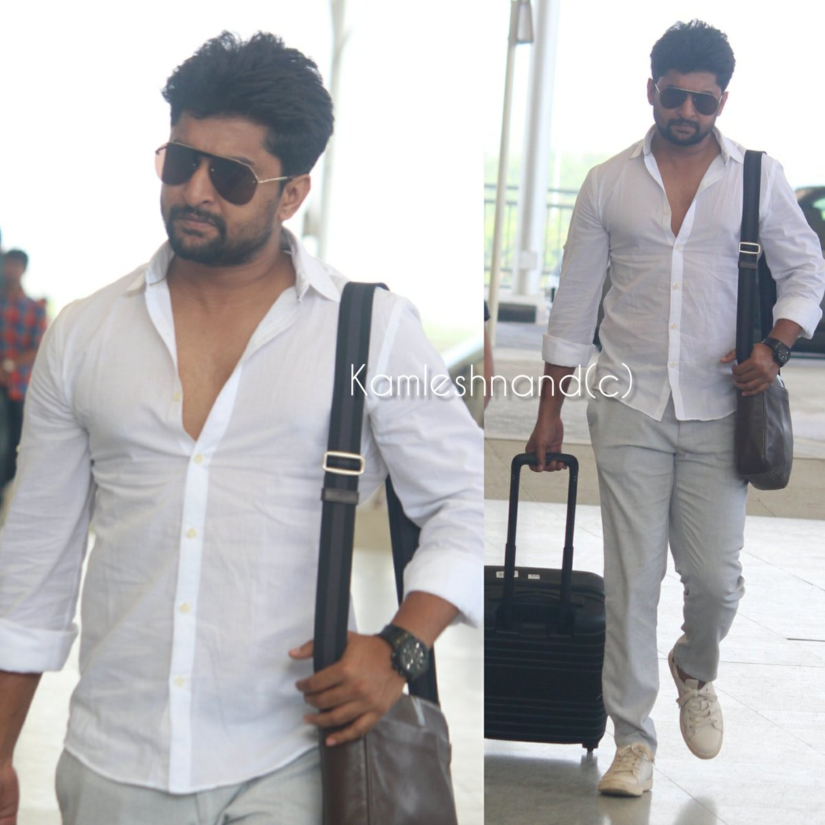 Natural star #Nani papped at Rgia  Look handsome in white  missing was just smile anthe..... @kamlesh_nand @NameisNani #TuckJagadish #tollywoodcelebs #southpaparazzi pic.twitter.com/zmv7LAhpsZ