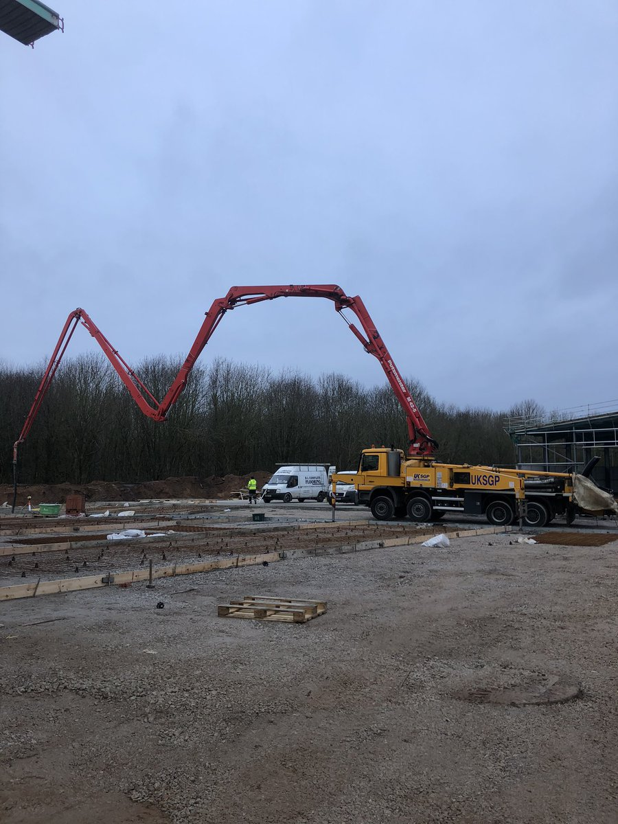 Pouring outside yards on site at Weston Hall Commercial Complex today with @AggregateUK and UKSGP Concrete Pumps