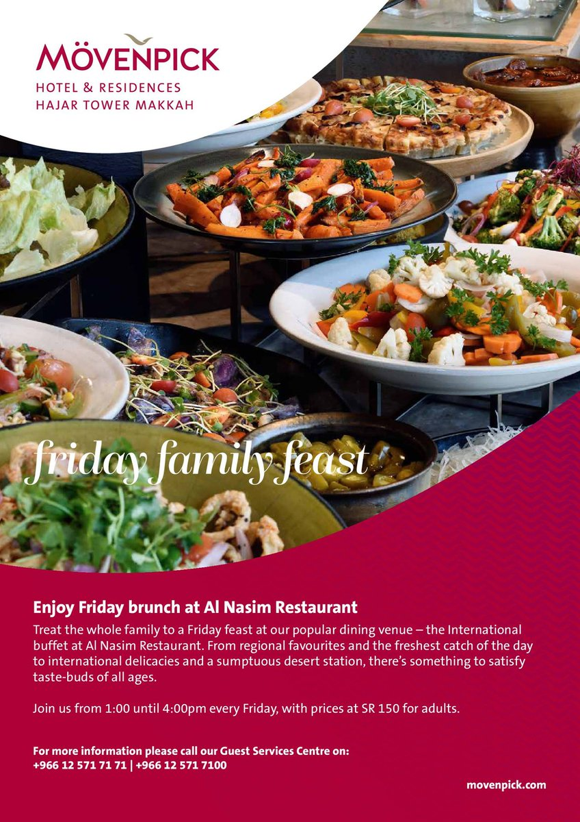 Friday Brunch at Al-Nassim restaurant from 1:00 pm until 4:00 pm.  Come and enjoy the experience.. https://t.co/ZF8jd67hUE #movenpickmakkah #hotel #makkah #movenpick #friday #restaurant #food https://t.co/B9qrNGscVY