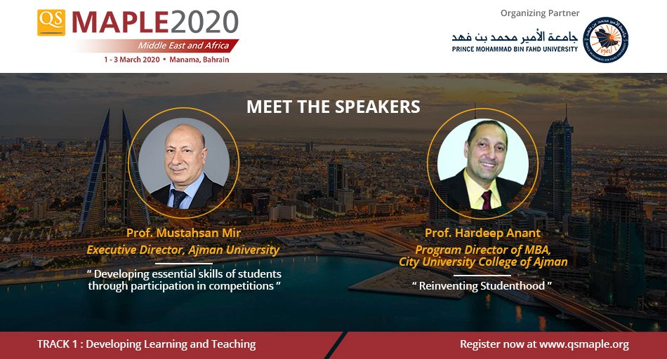 Our speakers's line-up for #qsmaple2020 continues to strengthen! Glad to announce that Prof. Mustahsan Mir from @AjmanUniversity and Prof @hardeepanant from @CUCAjman  are joining us as #qsmaple2020 speakers !  Learn more & Join us : http://bit.ly/qsmaple2020   #highered #universitypic.twitter.com/PHsQL42aer