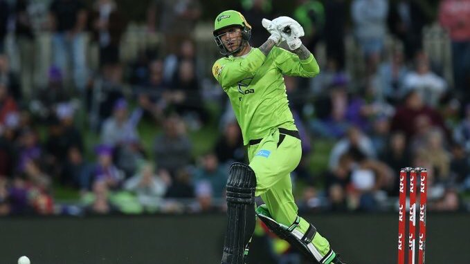 England's @AlexHales1 makes 60 as @ThunderBBL set 197/5 in the @bbl eliminator. Commentary on the @HurricanesBBL reply is live now online & via @BBCSport app. #bbccricket #BBL09
