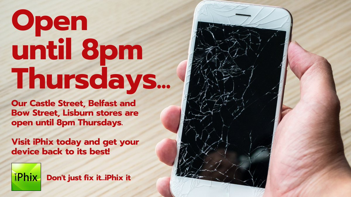 .@iPhix_NI OPEN until 8pm THURSDAYS! 30 Minute Express Repair!  No appointment necessary!  All Makes and Models repaired!  Lifetime Warranty on screen repair!  Click for Repair Prices - http://bit.ly/iPhixRepairPrices…  #BelfastHour #TrekNI #SupportLocal #DeviceRepair pic.twitter.com/emC6nWKxFn