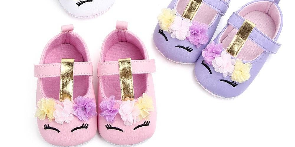 2019 Brand New Toddler Baby Girls Flower Unicorn Shoes PU Leather Shoes Soft