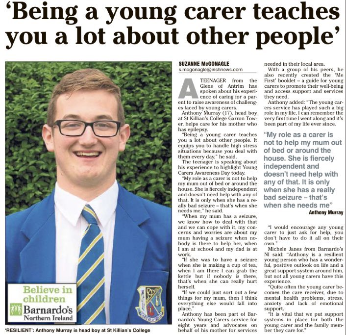 Immensely proud of our Head Boy Anthony Murray whose activism and advocacy on behalf of young carers is an example to us all. We also think of the other students in the College who also are carers for parents, siblings and other family members. Big 💛