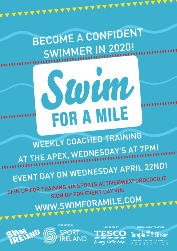 People of Wexford! Don't forget we now have The @TheApexCentre signed up for #SFAM2020. Become a confident swimmer this year with their coached weekly training on Wednesday evenings & the big day on Wednesday April 22nd @SportActiveWexpic.twitter.com/ic0pPxhMRX