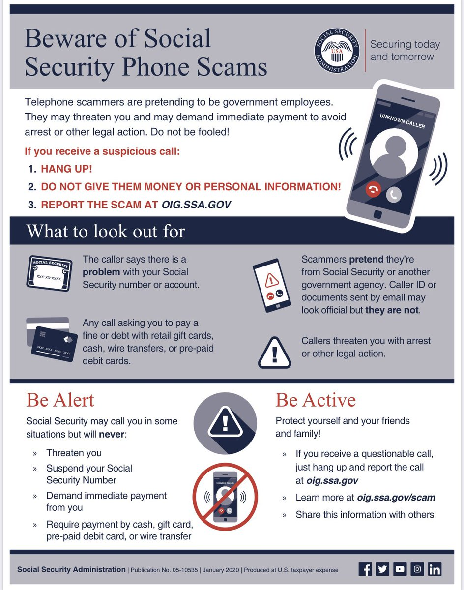 ‼️Beware of Social Security telephone scams‼️ Scammers are pretending to be government employees & demanding payment and/or information. Dont be fooled! 📵Hang up! ❌Don't give out money or info! ⚠️Report the scam! Learn more ➡️ oig.ssa.gov/scam