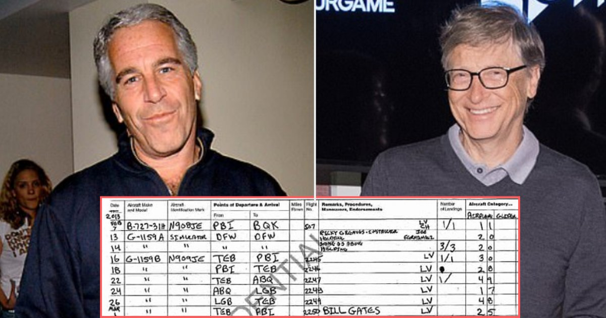 """Kirby Sommers author, feminist, sex slave survivor Twitterissä: """"Bill Gates  and Jeffrey Epstein flew together in Jeffrey's Lolita Express. As per the  records they took a journey from New Jersey's Teterboro Airport"""