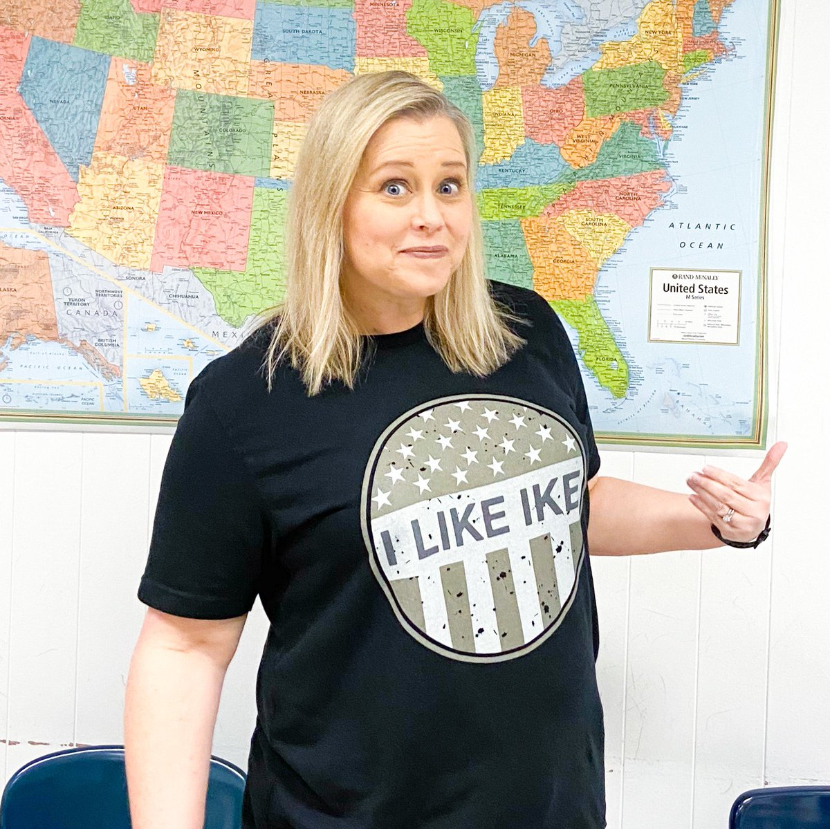 """Teaching the Cold War today.... gotta wear my """"I like Ike"""" shirt from Etsy!"""