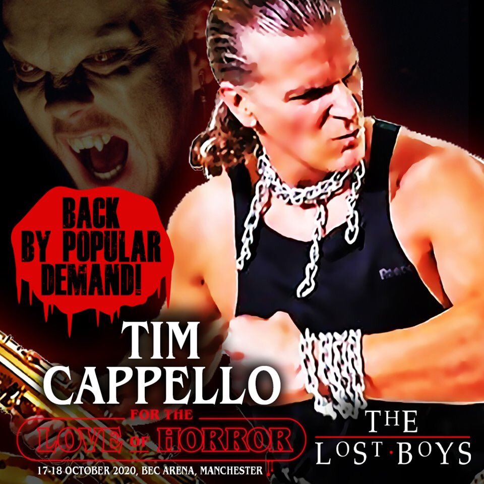 """GUEST ANNOUNCEMENT - TIM CAPPELLO  @ftlohorror #manchester OCT 17-18 BACK BY HUGE PUBLIC DEMAND PERFORMING """"I STILL BELIEVE"""" LIVE!  Baby oil and blow up saxophones at the ready! The star of @ftlohorror 2019 from #lostboys   Auto £20 Photo £20  Tickets: http://www.fortheloveofhorroruk.compic.twitter.com/bZoJvrdfvB"""
