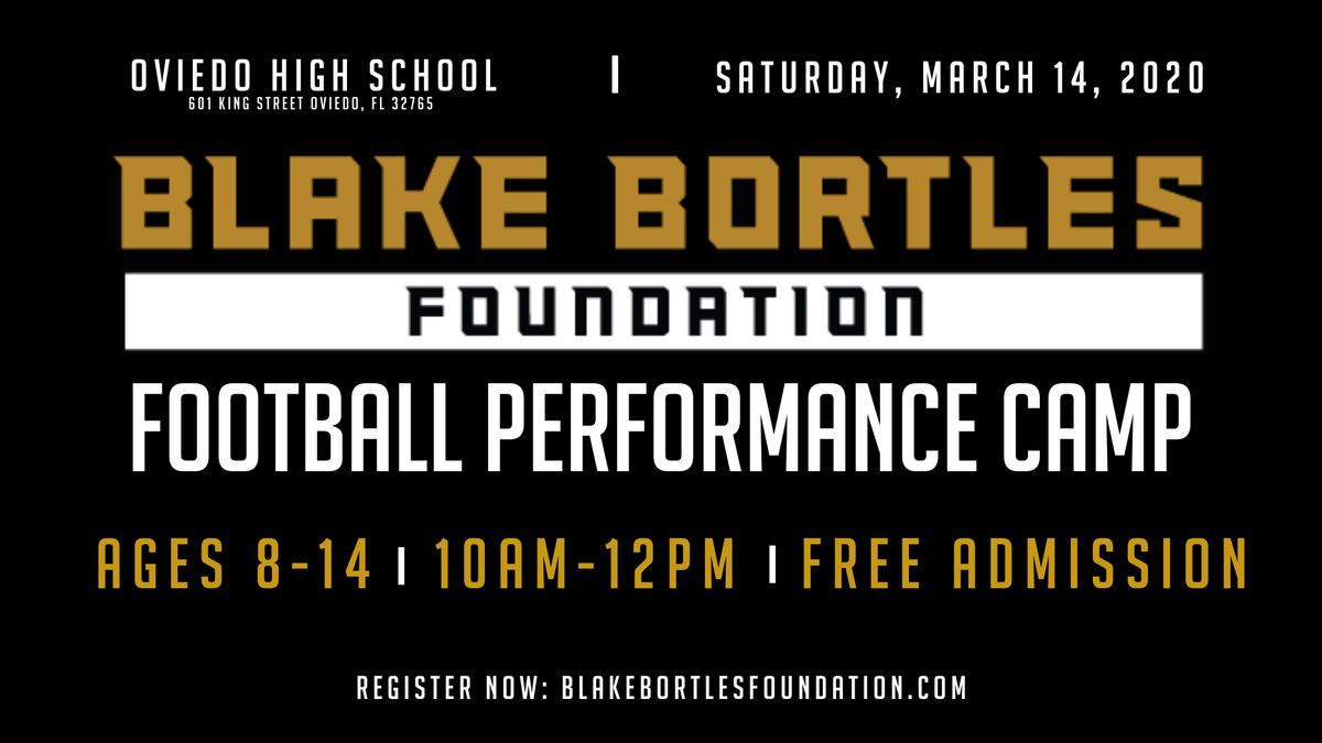 5th Annual #BB5Foundation Football Performance Camp Registration is OPEN for all campers ages 8 - 14!   Register here: https://t.co/waODxE7vbd and we look forward to seeing everyone on Saturday, March 14th at Oviedo High School! https://t.co/6EmXdz19wF
