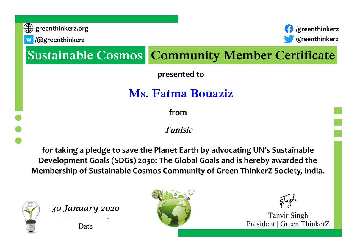 #TeachSDGs Sustainable Cosmos Community Member Certificate @GreenThinkerz @TeachSDGs