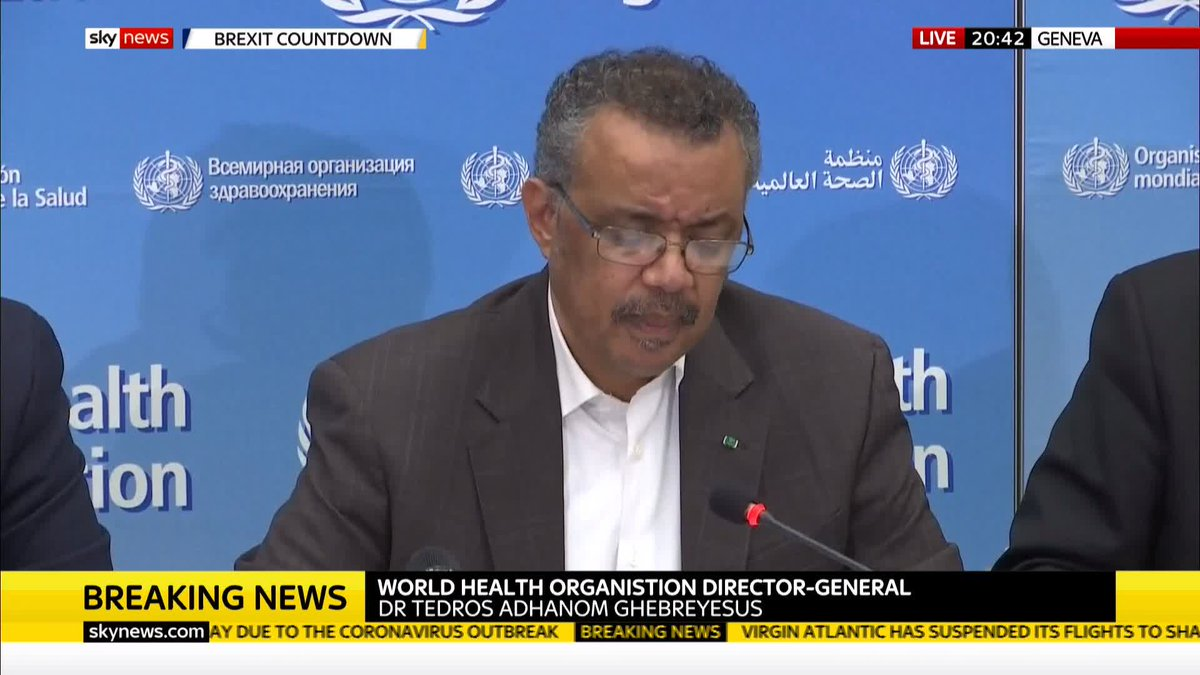 """BREAKING: """"Our greatest concern is the potential for the virus to spread to countries with weaker health systems.""""The World Health Organisation declares the #coronavirus outbreak a global public health epidemic.Get the latest on this story here: https://trib.al/B067rsd"""