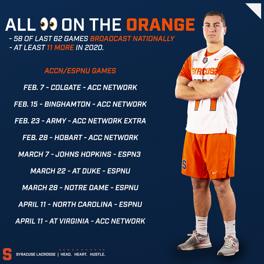 All eyes on the Orange.  'Cuse set for a number of national TV appearances: https://t.co/VPTuuhIZOc https://t.co/bUhVxTYibP