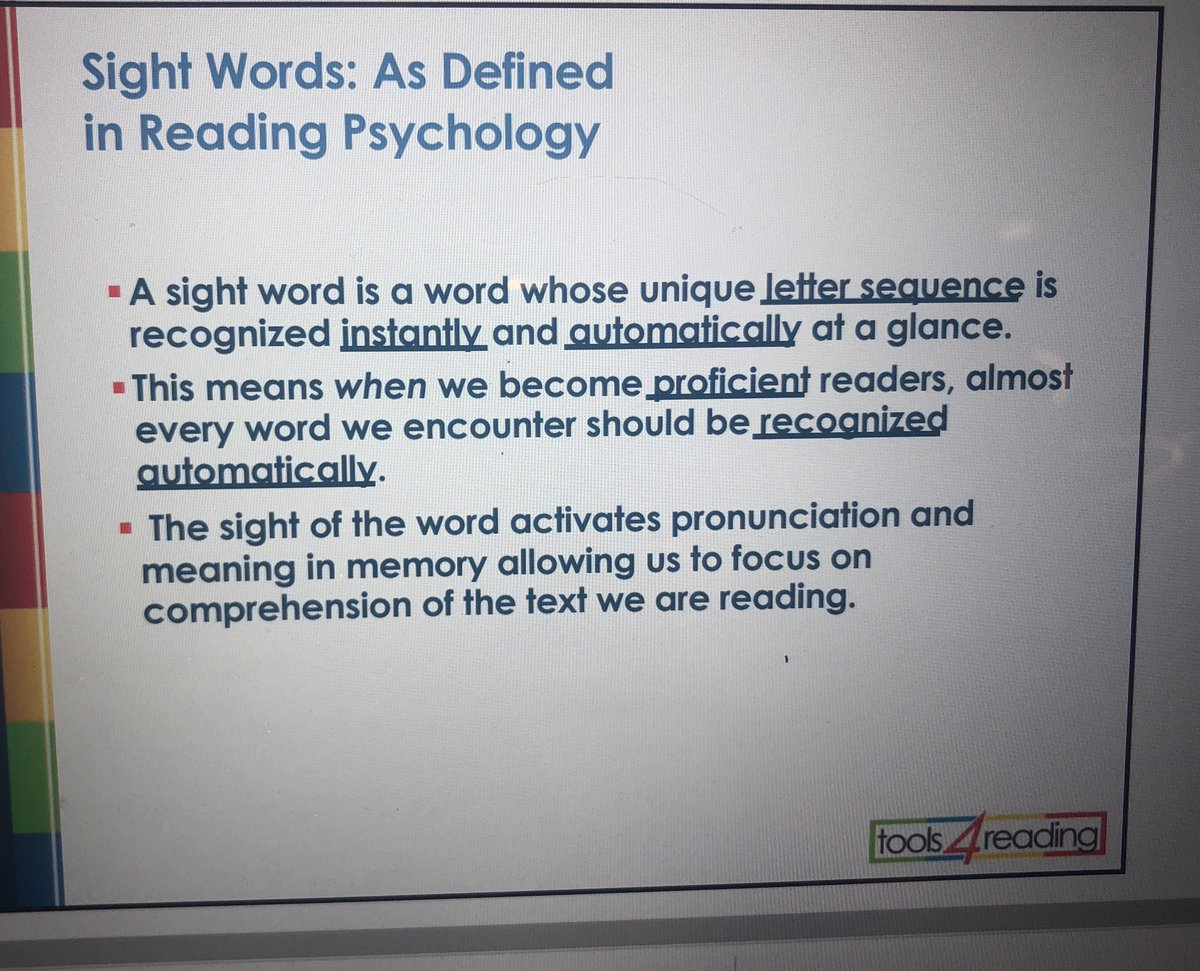 How sight words are defined by reading psychology, with Dr. Mary. Dahlgren at #PlainTalkNOLA