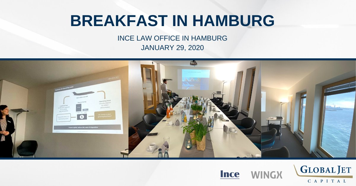 Global Jet Capital was thrilled to host a delightful Breakfast event yesterday with @WingX at the @INCE Law Office in Hamburg. It was a productive morning filled with business aviation insight and discussion from Alexandra Asche and other industry experts! #bizav #aviation