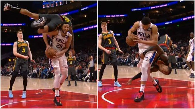 【影片】NBA驚險一幕!老鷹大將空中翻轉一週後平拍落地,隊友全都嚇壞了!