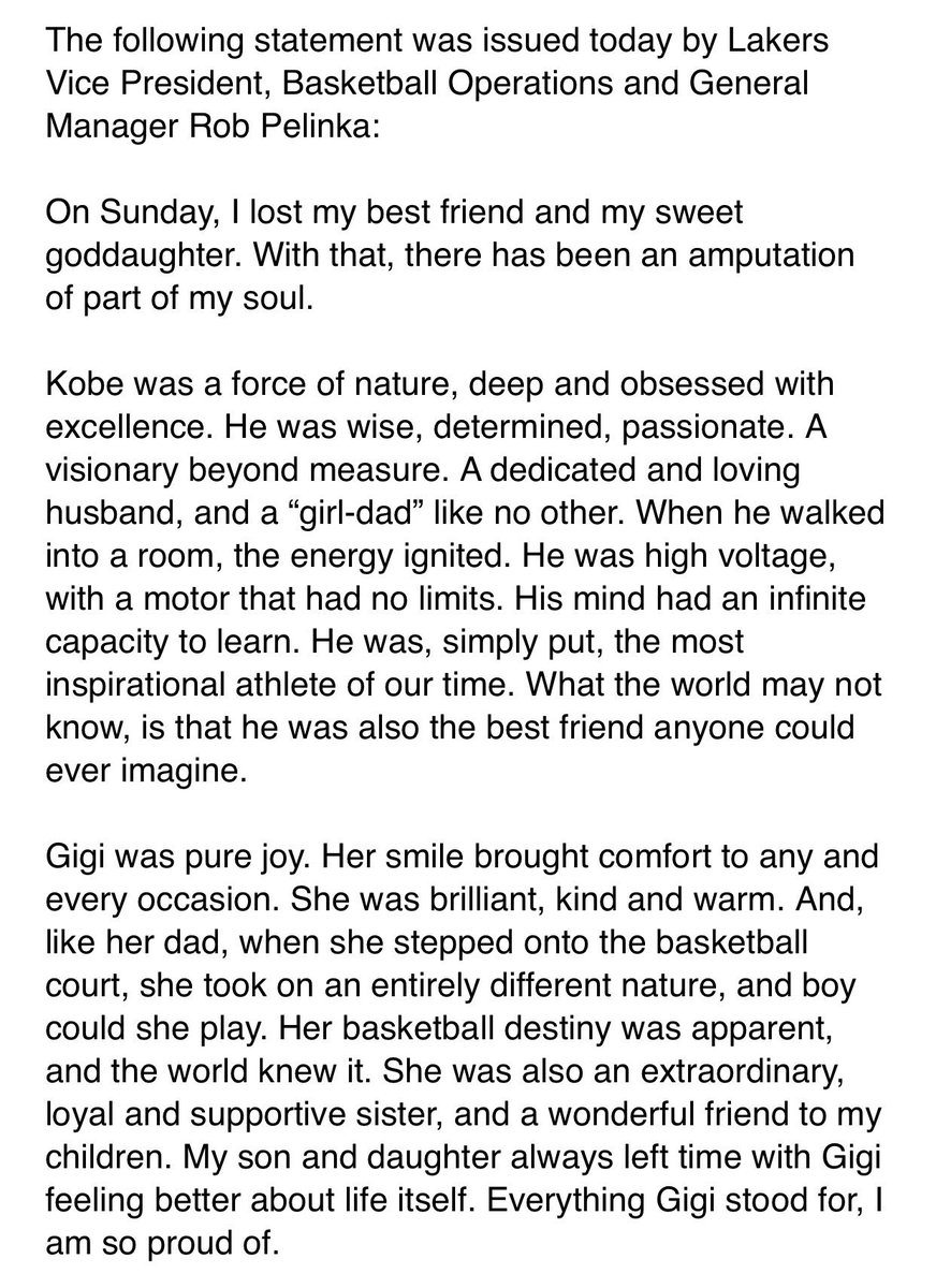 Lakers GM Rob Pelinka, Kobe Bryant's former agent, pays tribute to Kobe and his daughter Gianna ...