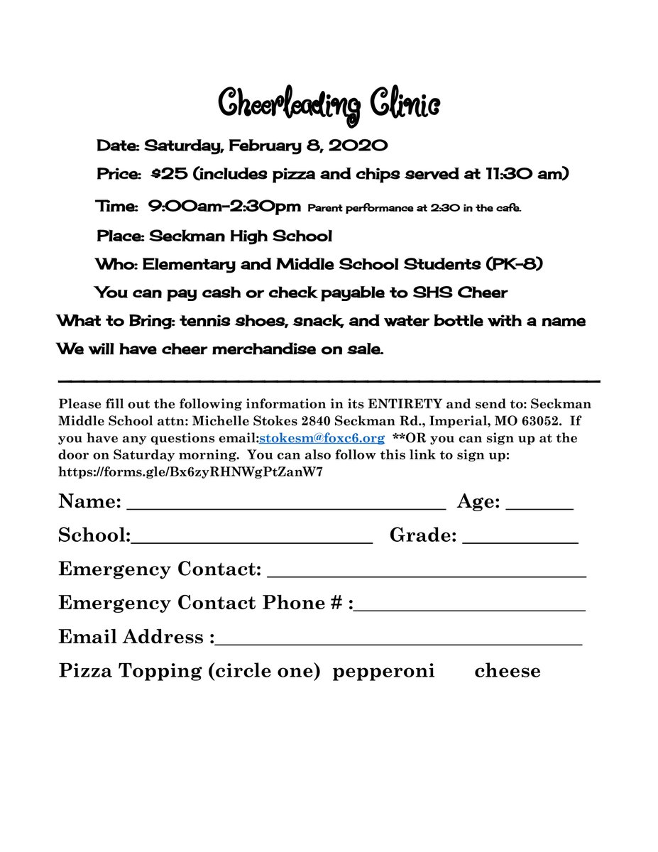 Cheer clinic: Saturday, February 8th. Use the google form to sign up. forms.gle/s9nNTWBVNfVCpj…