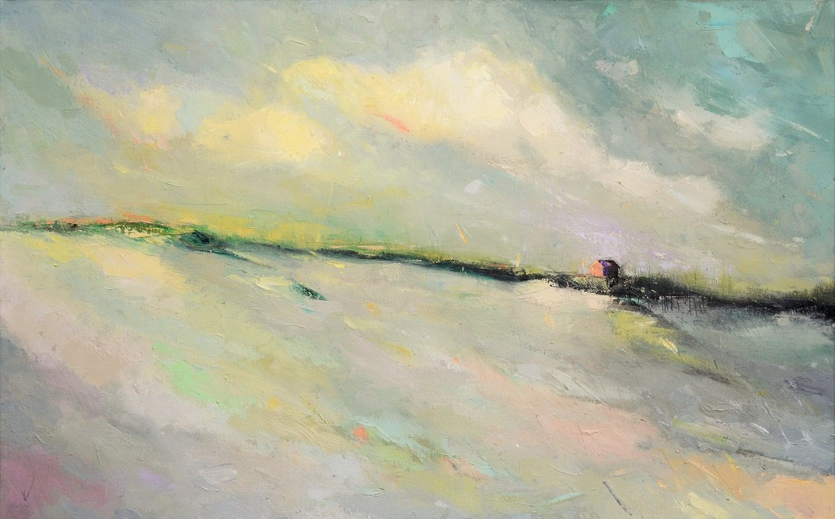 """A little piece of DUNES LXXIV 30""""x48"""" oil on Belgian linen - NEW! So pretty viewed live - #yes #art #painting #photooftheday #interiordesignideas #prettymerch #americanart #contemporaryartist #color #shopping #landscape #abstractlandscape #abstract #smallbusiness #Statement"""