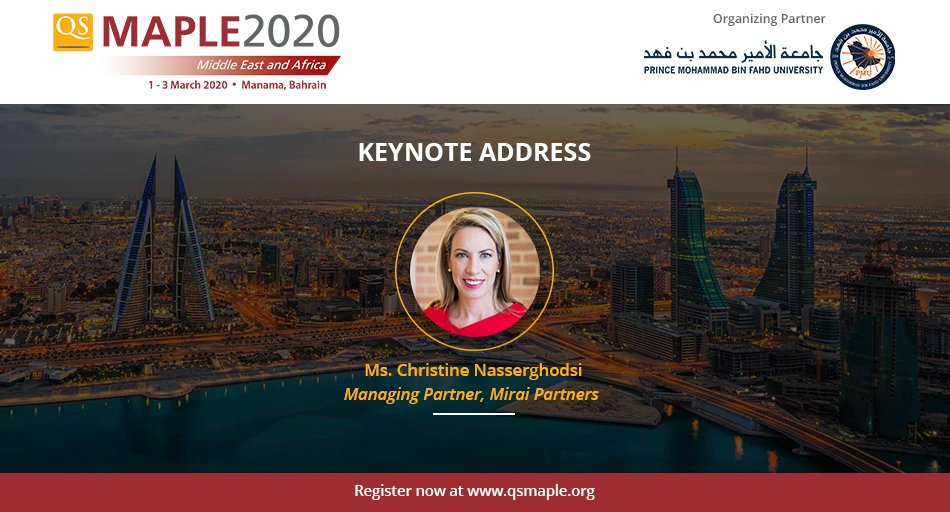 We welcome @cnasserghodsi, a global leader in #innovation & #education, as our #keynotespeaker at #qsmaple2020! She has worked with several int'l organizations to develop high-impact leadership, learning & organizational transformation programs.  Join us : http://bit.ly/qsmaple2020 pic.twitter.com/u7jgz4W6XX